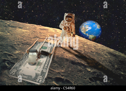 Astronaut with a money trap on the moon