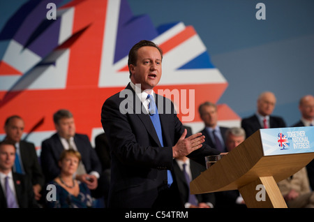British Prime Minister David Cameron Delivers his keynote speech to delegates on the Conservatives party conference. - Stock Photo