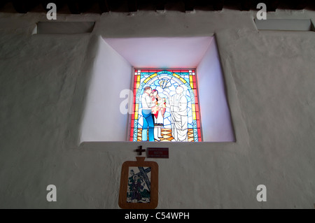 Stained glass window in a cathedral, St. Francis Cathedral, Santa Fe, New Mexico, USA - Stock Photo
