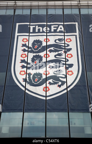 England and Wales FA Football Association Logo at Wembley Stadium, London, England, UK - Stock Photo