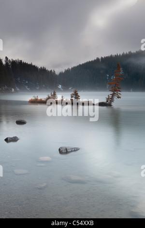 Panoramic view of a lake, Two Jack Lake, Banff, Banff National Park, Alberta, Canada - Stock Photo