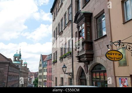 Burgstrasse in der Altstadt Castle street old town of Nuremberg - Stock Photo
