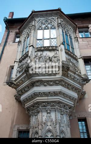 Choerlein am Pfarrhaus Sebalduskirche, verzierter Erker Altstadt, Bowfront, rectory, Sebaldus church old town - Stock Photo