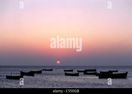 India, Tamil Nadu State, Rameswaram, Dhanushkodi, Sunset at southern tip - Stock Photo