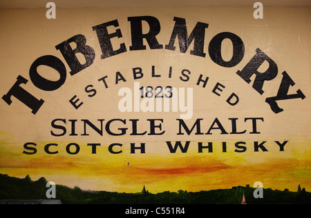 Painted sign at Tobermory distillery visitor centre on the Isle of Mull - Stock Photo