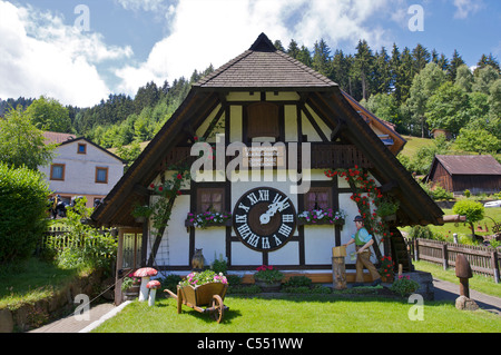 World's largest cuckoo clock, Schonach in the Schwarzwald, Baden-Wurttemberg, Germany - Stock Photo