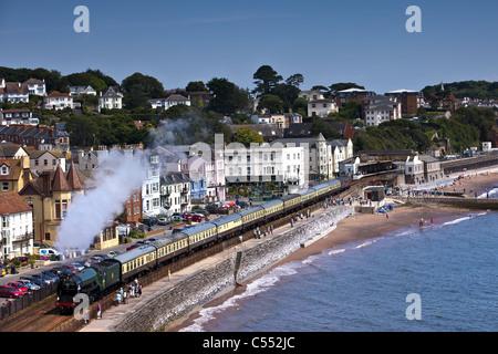Torbay Express, coming through Dawlish along the sea wall. - Stock Photo