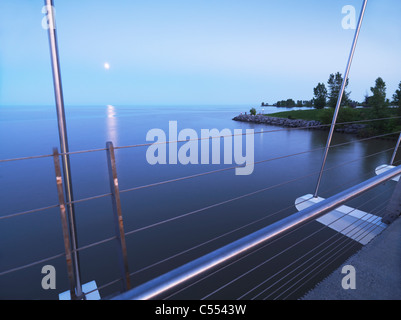 View of the Humber Bay from The Humber River Arch Bridge in Toronto during sunset. Toronto, Ontario, Canada. - Stock Photo
