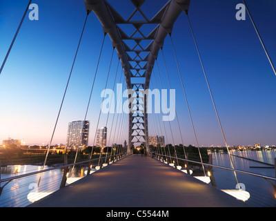 The Humber River Arch Bridge in Toronto during sunset also known as the Humber Bay Arch Bridge or the Gateway Bridge. Canada