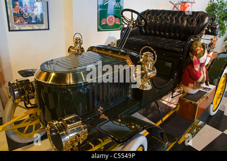 Steam powered car in a museum, 1907 Stanley Steamer, Browning Kimball Car Museum, Union Station, Ogden, Utah, USA - Stock Photo