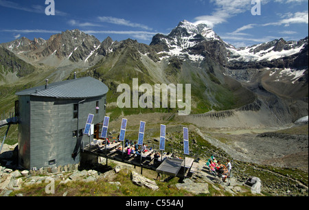 The Velan refuge, Cabane du Velan, of the Swiss Alpin Club (CAS) at the foot of Mt Grand Combin, Valais, Switzerland - Stock Photo