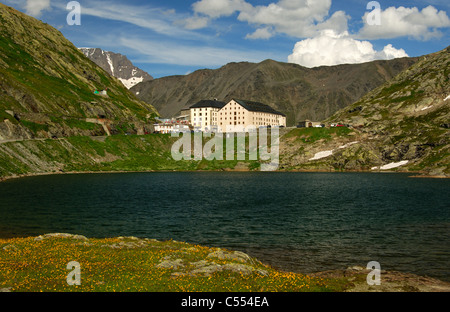 View from the Italian side at the hospice on the Great St. Bernard Pass, Valais, Switzerland - Stock Photo