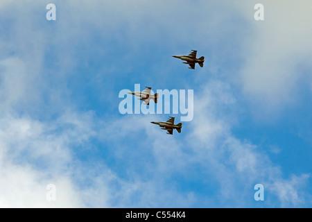 The Netherlands, Buren on Ameland, Island belonging to Wadden Sea Islands. Unesco World Heritage Site. F-16 fighter - Stock Photo