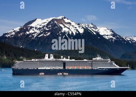 Cruise ship in the ocean, MS Oosterdam, Holland America Line, Sitka, Baranof Island, Alaska, USA - Stock Photo