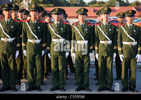 Soldiers at the Tiananmen Square, Chinese People's Liberation Army, Beijing, China - Stock Photo