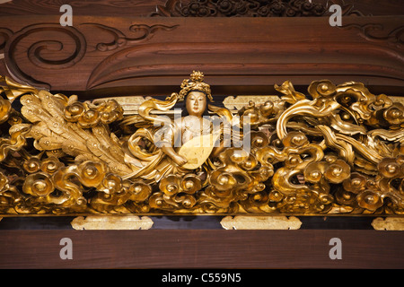 Details of carving in a temple, Amidado Hall, Nishi Honganji Temple, Kyoto Prefecture, Kinki Region, Honshu, Japan - Stock Photo