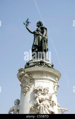 Low angle view of The Statue of Republic, Place de la Republique, Paris, Ile-de-France, France - Stock Photo