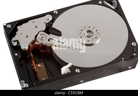 Computer Hard Drive Opened Up on White Background - Stock Photo