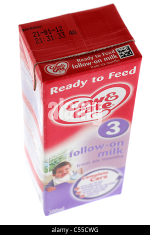 Carton of Cow & Gate baby milk ready to feed 3 follow on milk from six months - Stock Photo
