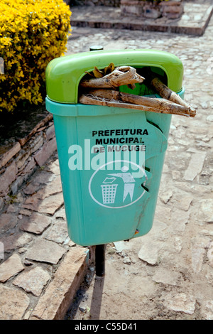 Litter bin in street at Mucuge, Chapada Diamantina, Brazil - Stock Photo