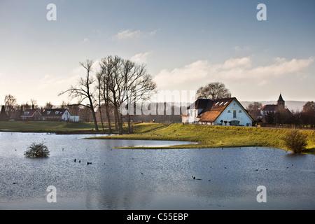The Netherlands, near Nijmegen, High water level in river called Waal. dike