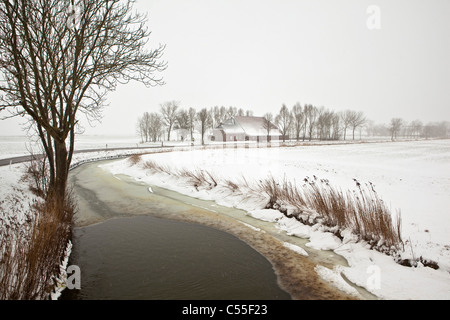 The Netherlands, Usquert, farm and canal in snow. - Stock Photo