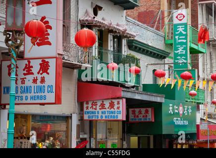 san francisco chinatown  shop fronts china town california usa - Stock Photo
