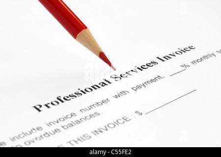 Professional service invoice - Stock Photo