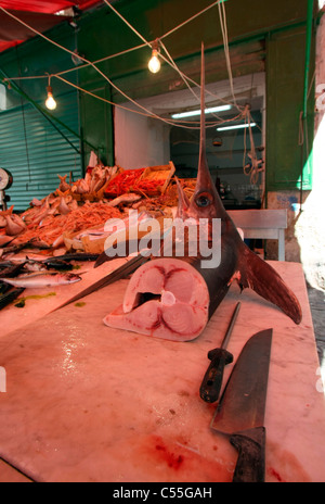 Fish stand in a market, Greece - Stock Photo