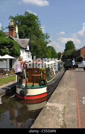 Narrowboat at York Street Lock,  Stourport-on-Severn, Worcestershire, England, UK - Stock Photo