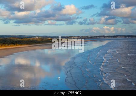 Lone Surfer at Saunton Sands with Braunton Burrows behind. Devon. England. UK. - Stock Photo