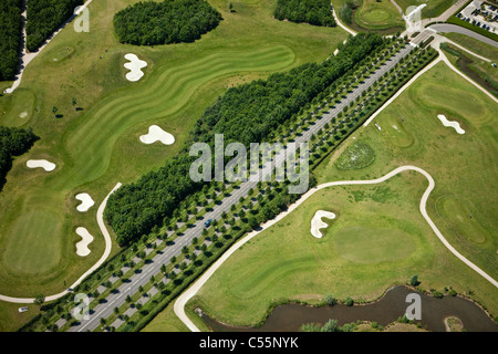 The Netherlands, near Den Bosch, Golf course belonging to Haverleij castles. Aerial. - Stock Photo