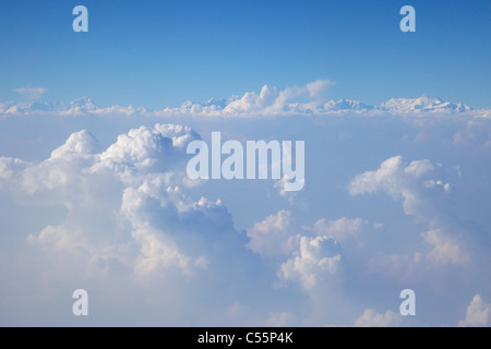 Aerial view of Himalayas taken from a passenger jet, Kathmandu, Nepal - Stock Photo