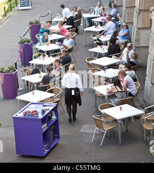 Elevated view of The Scottish Cafe, attached to the National Galleries of Scotland, East Princes Street Gardens, - Stock Photo