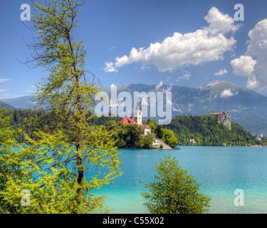 SLO - GORENJSKA REGION: Lake Bled and Island Church of the Assumption - Stock Photo