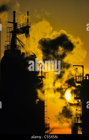 Smoke erupting from a flarestack, Edmonton, Alberta, Canada - Stock Photo