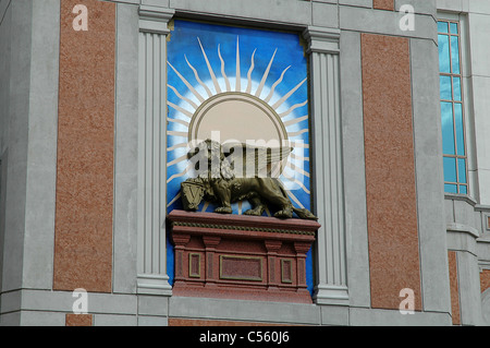The Lion of St. Mark decorates the exterior of the Venetian Hotel and Casino in Las Vegas, Nevada. - Stock Photo