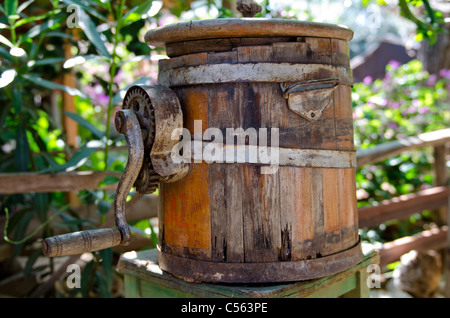 A very old butter churn in an old Turkish village - Stock Photo