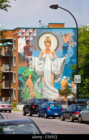 Public mural in Montreal, Canada - Stock Photo