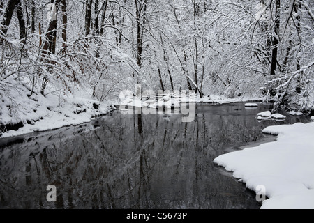 A Snow Covered Little Creek In Winter, Keehner Park, Southwestern Ohio, USA - Stock Photo