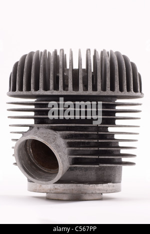Classic single motorcycle engine block on white - Stock Photo