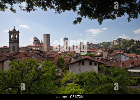 View to the towers of Bergamo from the Rocca fortress - Stock Photo