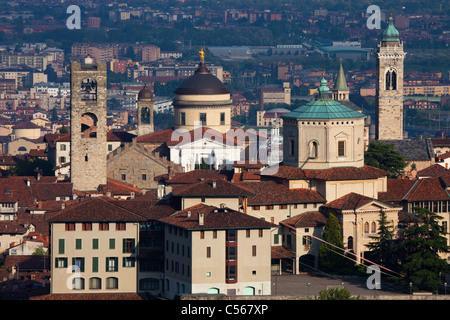 View to Bergamo upper town from San Vigilio hill - Stock Photo