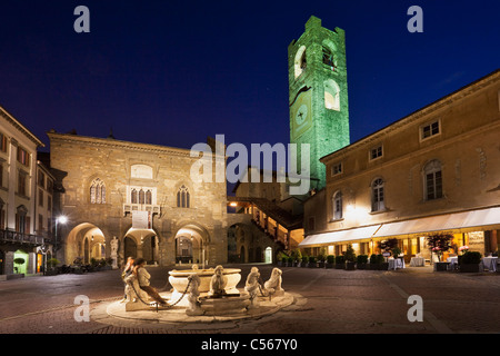 Piazza Vecchia - the main square in Bergamo old town - Stock Photo