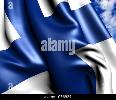 Flag of Finland against cloudy sky. Close up. - Stock Photo