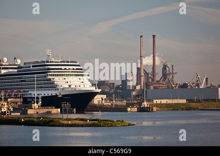 The Netherlands, IJmuiden, Eurodam cruise ship, belonging to Holland America Line, in locks of North Sea Canal. - Stock Photo