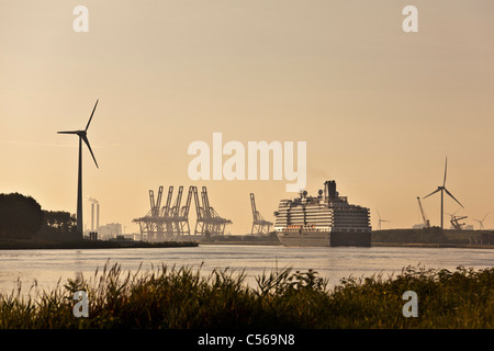 The Netherlands, IJmuiden, Eurodam cruise ship, belonging to Holland America Line, in North Sea Canal near Amsterdam - Stock Photo