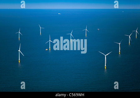 The Netherlands, IJmuiden, Aerial view of wind turbines park called Offshore Windpark Egmond aan Zee or Princess - Stock Photo