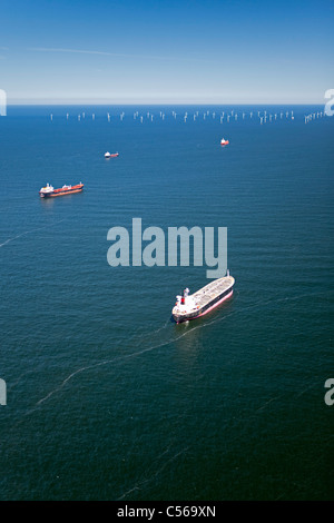 The Netherlands, Aerial view of wind turbines park called Offshore Windpark Egmond aan Zee or Princess Amalia - Stock Photo