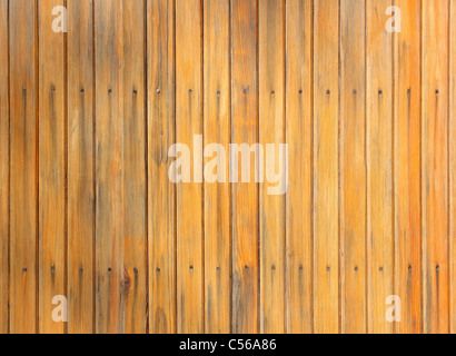 The wooden plank panel brown screwed screws - Stock Photo